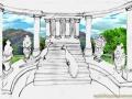 Roman Villa Mural - Sketch