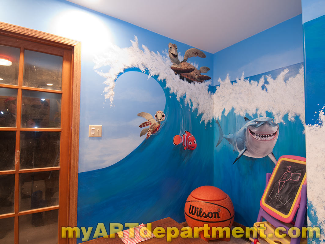 Wall murals for kids playrooms for Disney wall mural