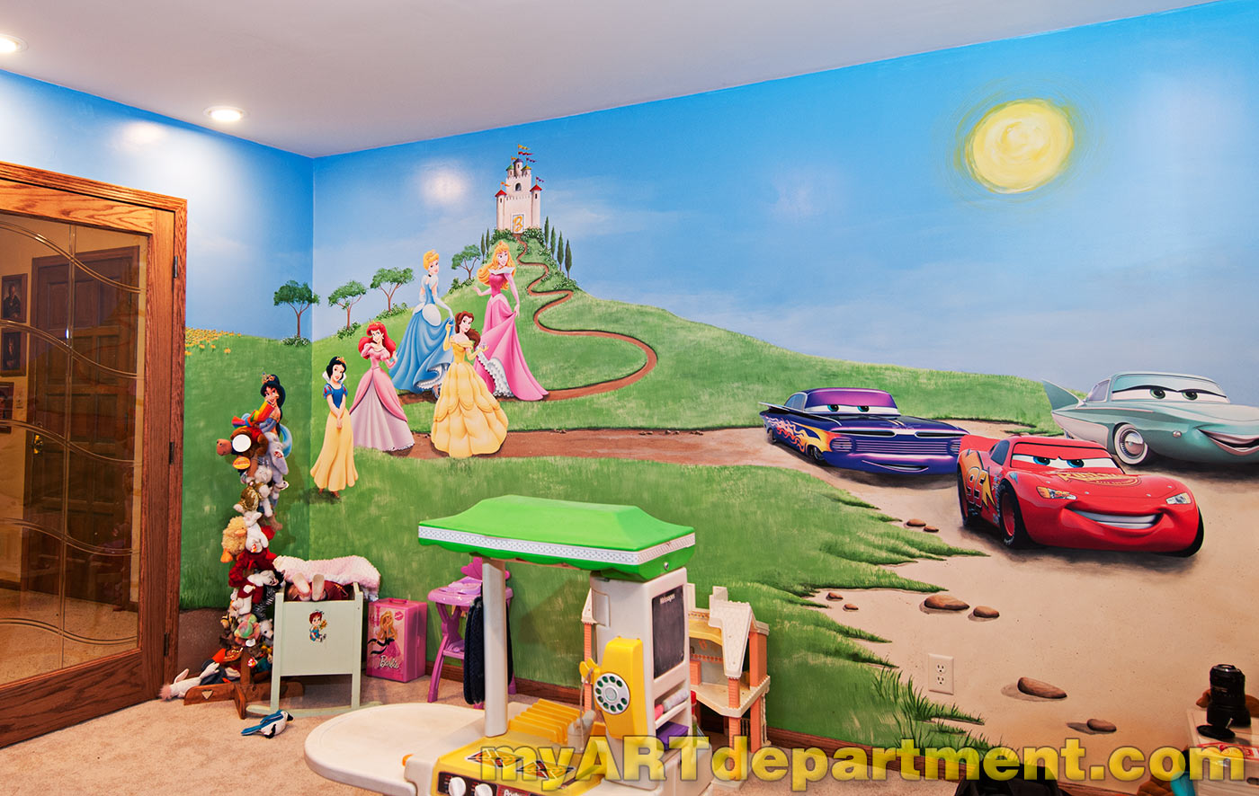 Disney characters mural for kids 39 playroom for Childrens mural wallpaper