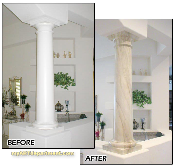 Faux Pillars And Columns : Hand painted faux marble pillars gallery