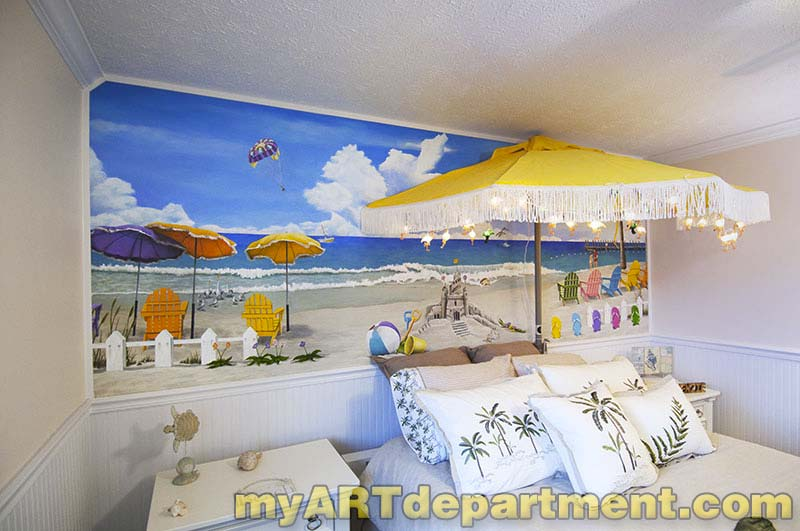 Bedroom beach mural girl 39 s room for Beach mural bedroom