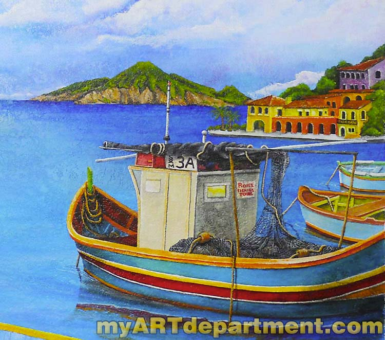 St maarten mural waterfront scene myartdepartment for Diving and fishing mural