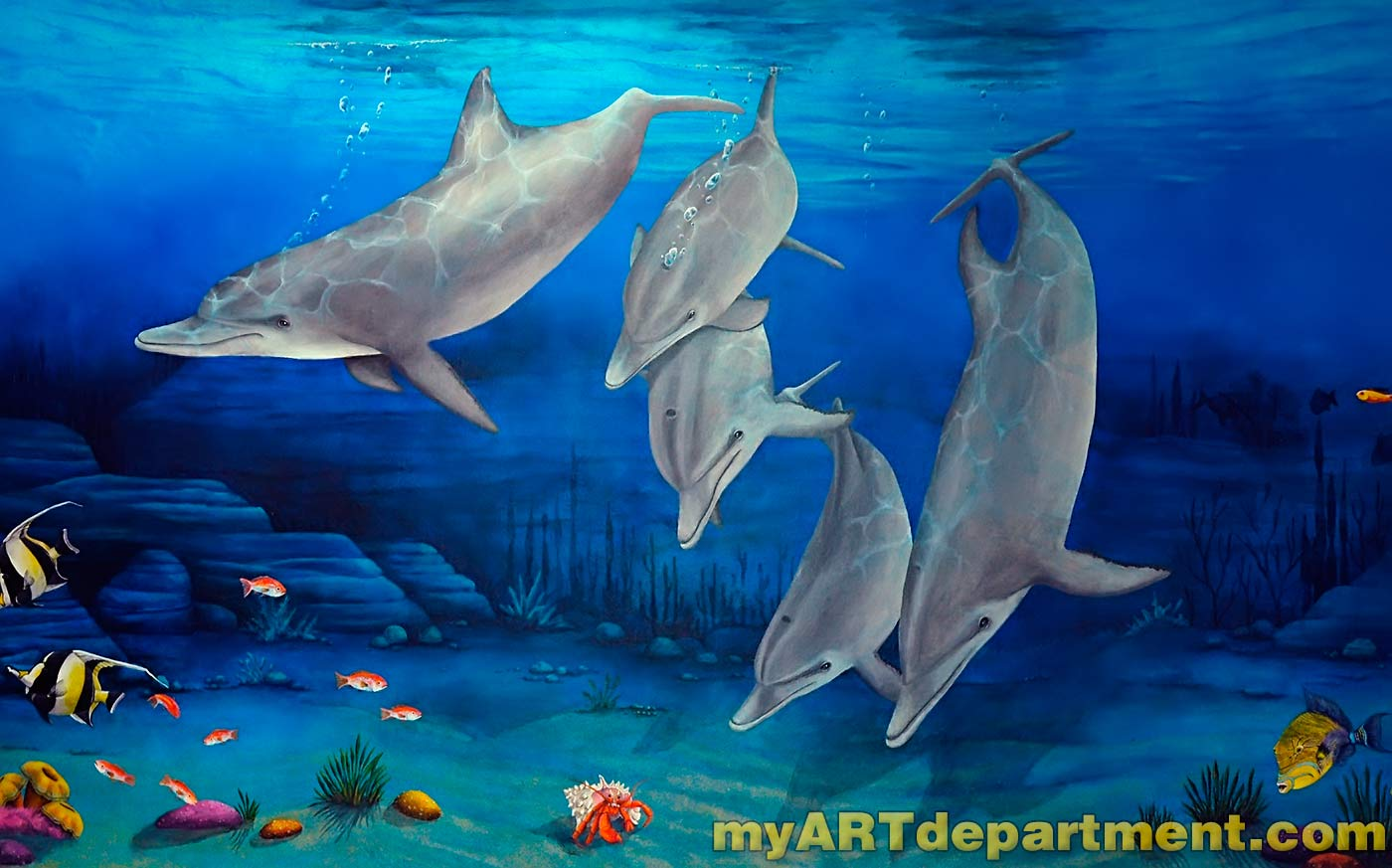 Children 39 s hospital playroom murals summerlin las vegas for Diving and fishing mural