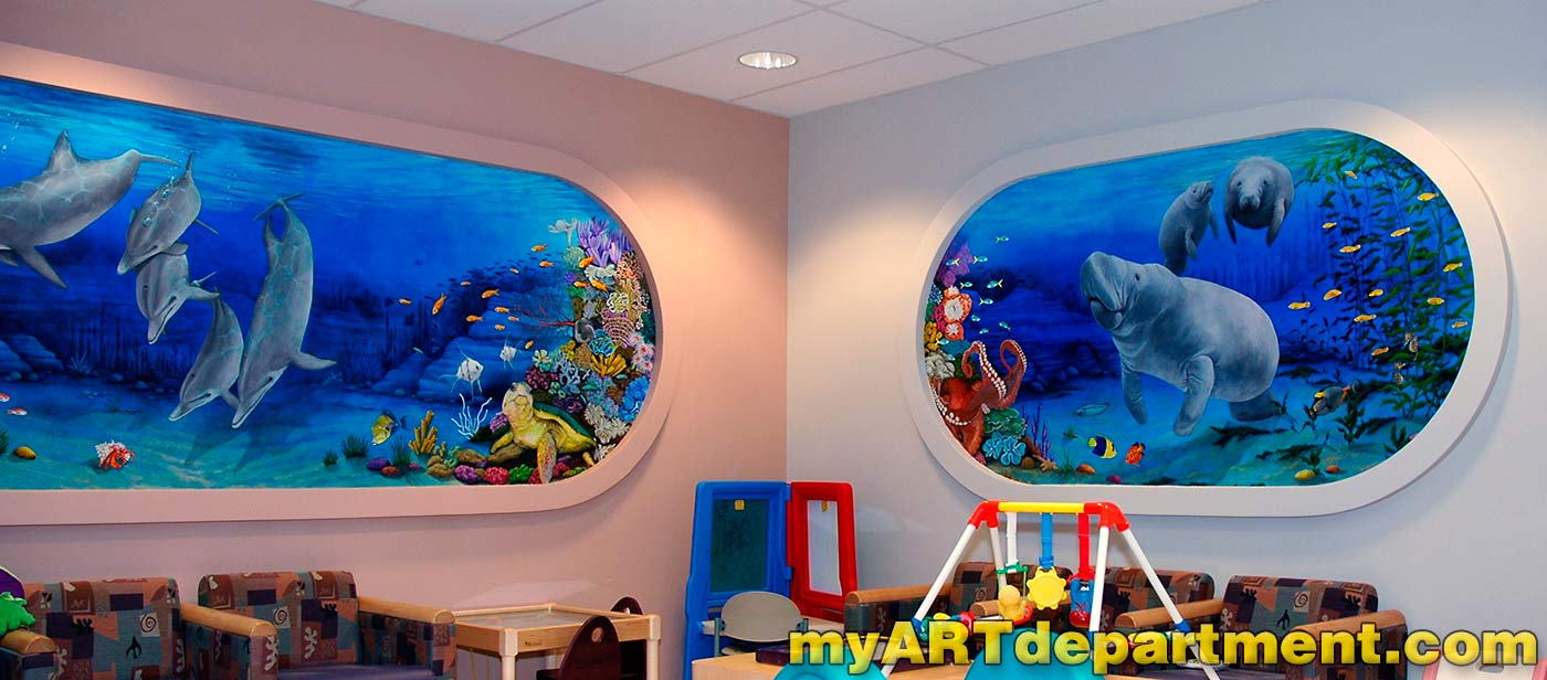 Children 39 s hospital playroom murals summerlin las vegas for Childrens room mural