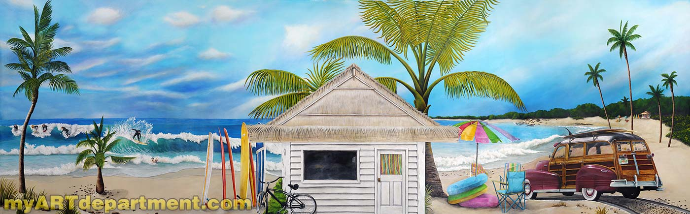Bedroom beach mural boy 39 s room for Beach mural painting