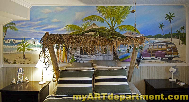 Bedroom beach mural boy 39 s room for Boys bedroom mural