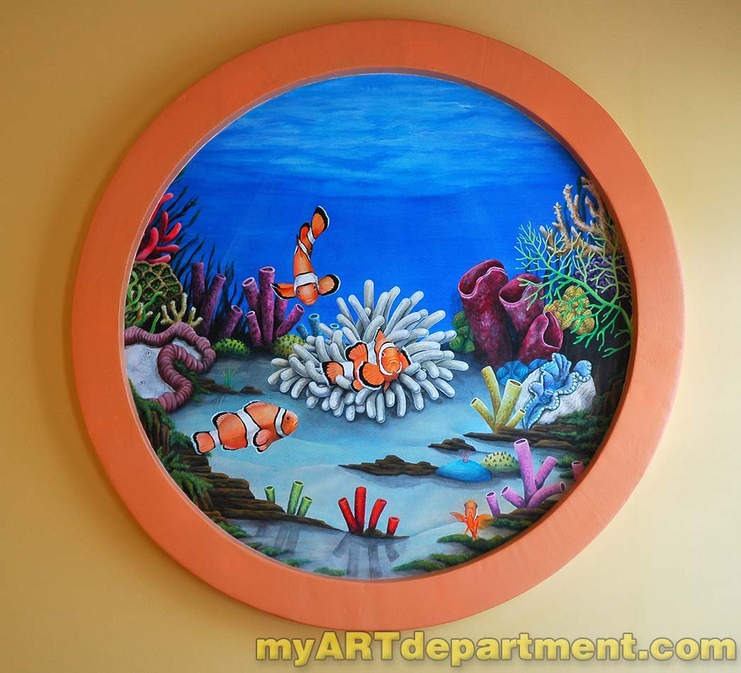 Undersea wall murals for dentist 39 s office for Diving and fishing mural