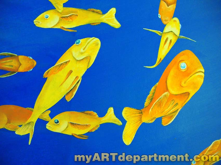 Underwater mural for dentist 39 s ceiling with dolphins for Diving and fishing mural
