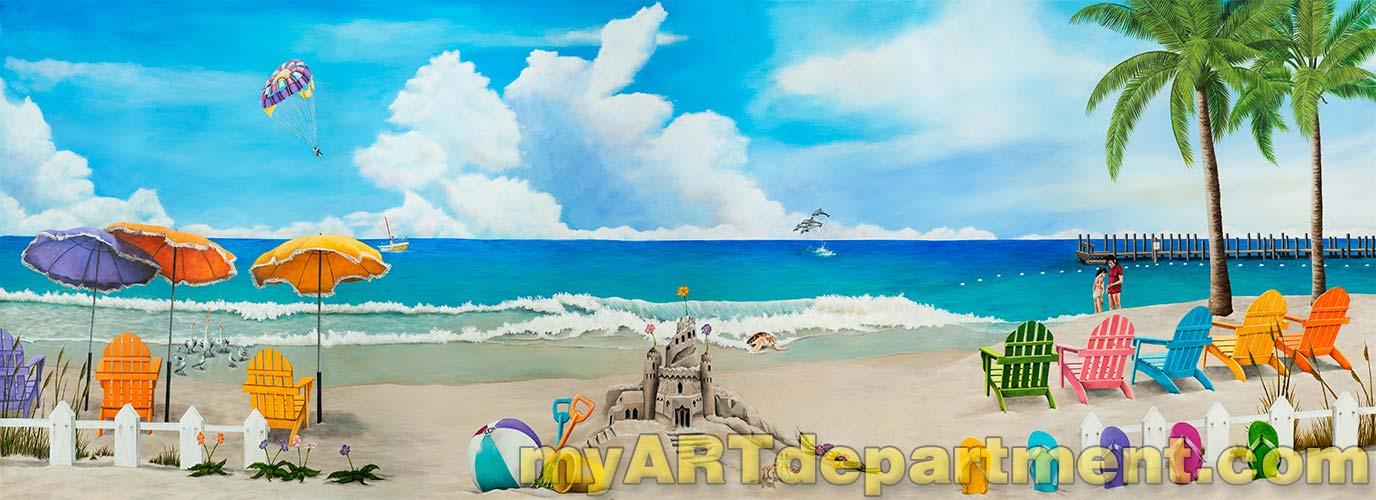 S Bedroom Beach Mural Complete